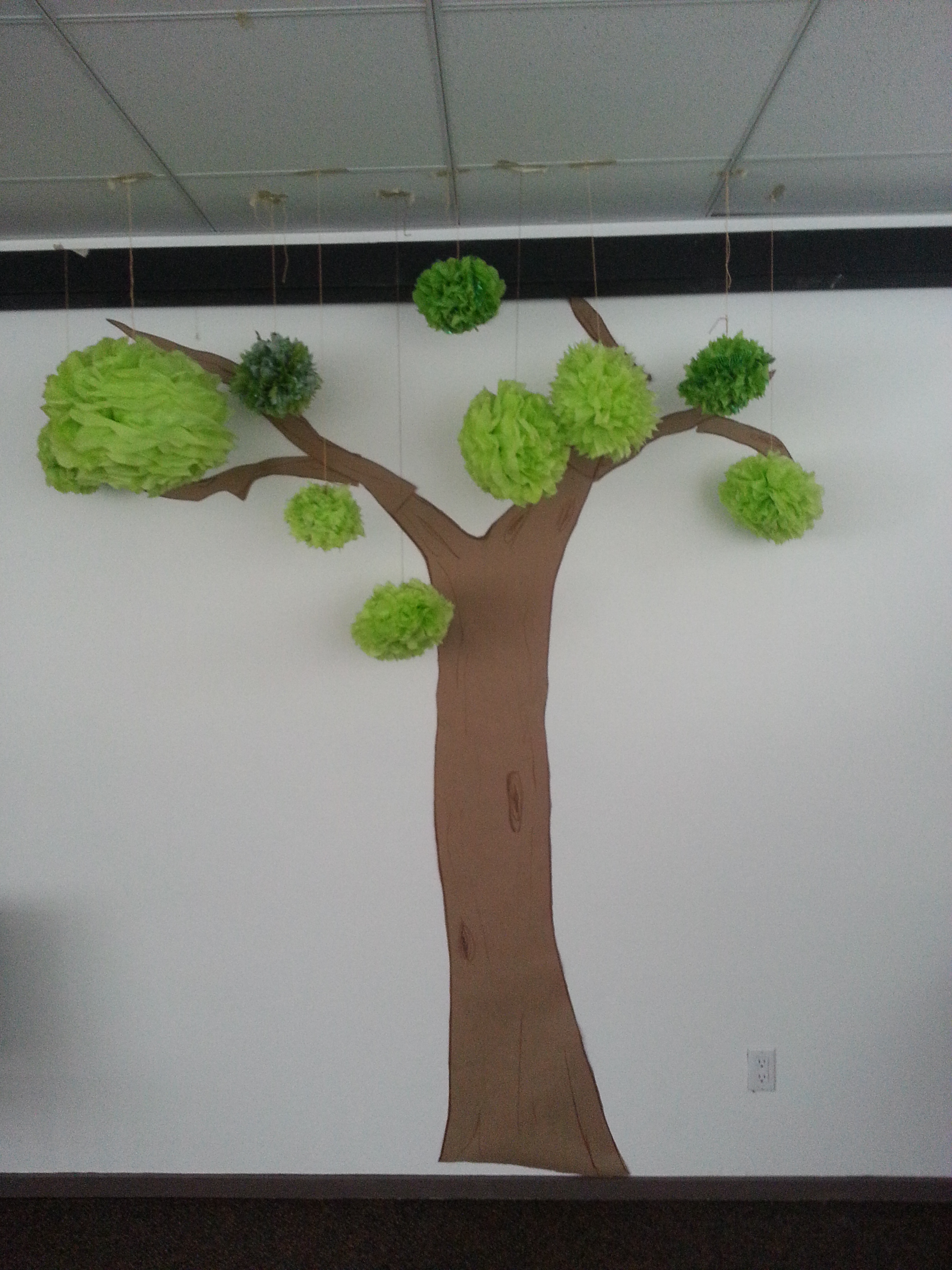 Green Tree made from tissue paper pompoms